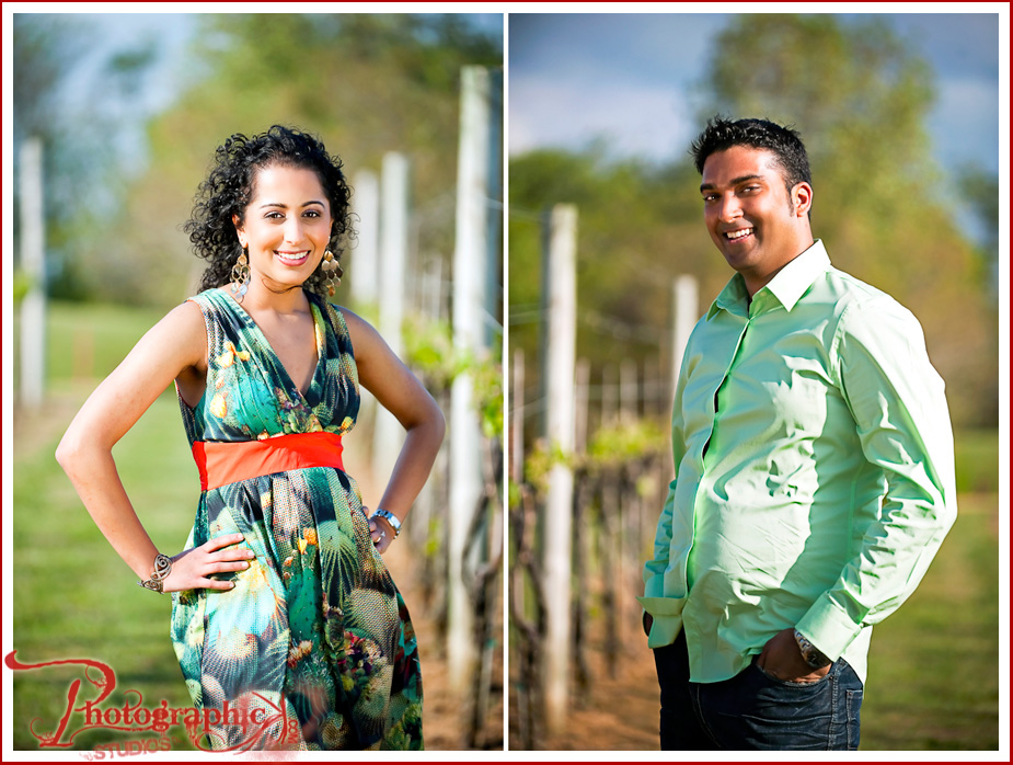 Roshni and Jay engagement session at Three Fox Vineyards
