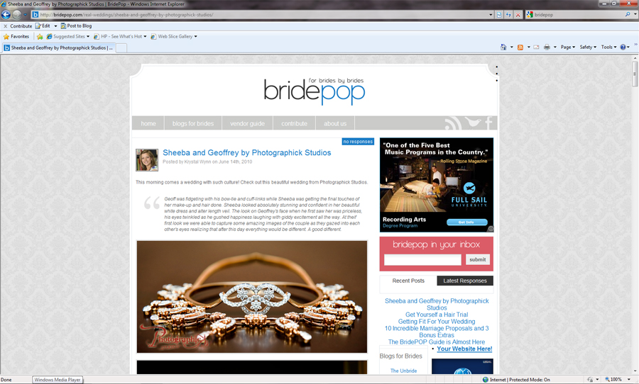 Sheeba and Geoffreys Wedding Published on BridePop.Com
