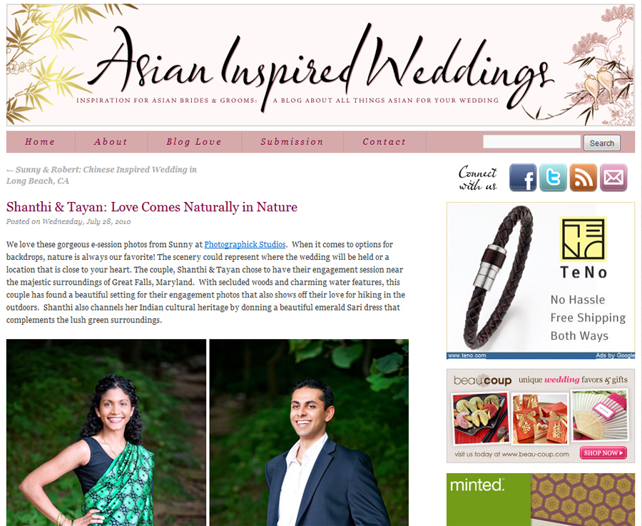 Published Engagement Session on Asian Inspired Weddings Photos