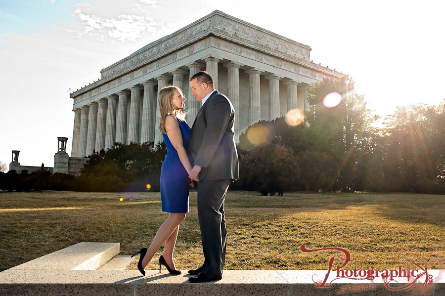 Chrissy and Peter Engagement Session Photos at The St. Regis hotel and Lincoln Memorial