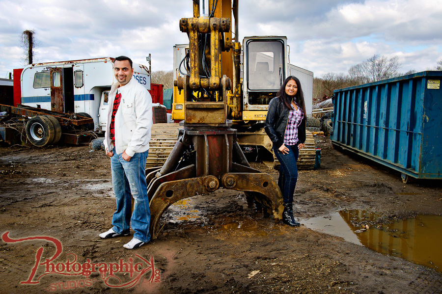 Salvage Yard Engagement Session of Bijal and Saurav in Maryland