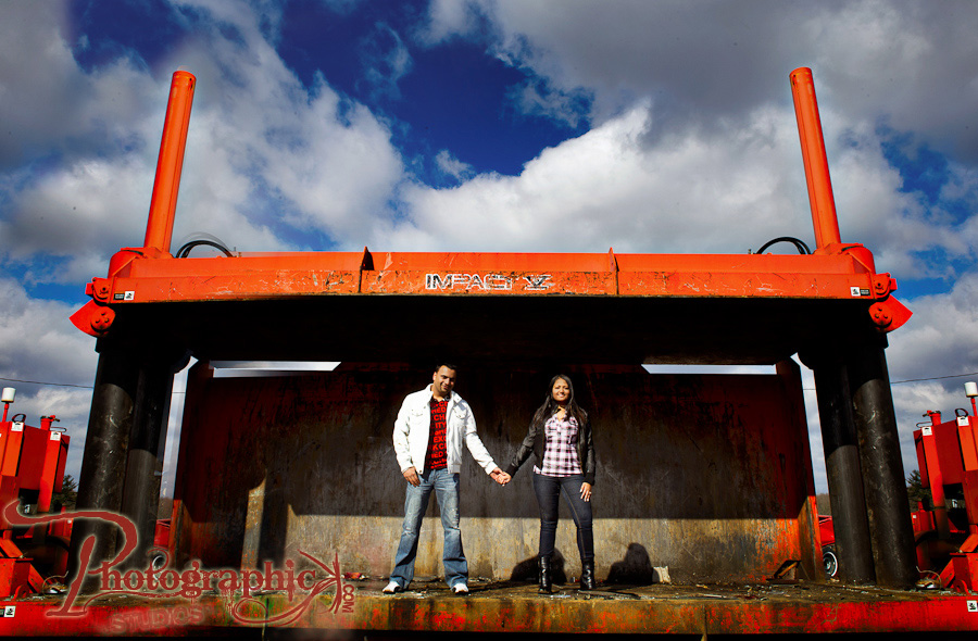 Bijal and Saurav's engagement session at a salvage yard in White Hall Maryland